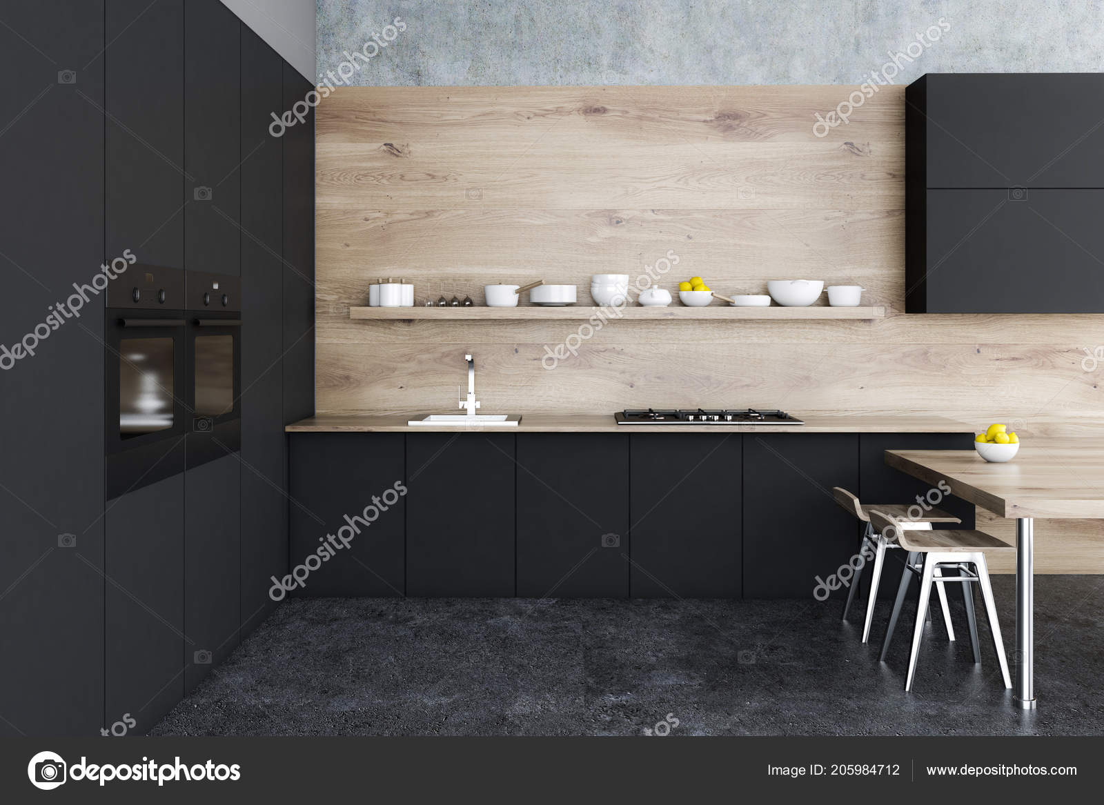 Intérieur Cuisine Noire Bois Avec Sol Béton Armoires Noirs Une ...