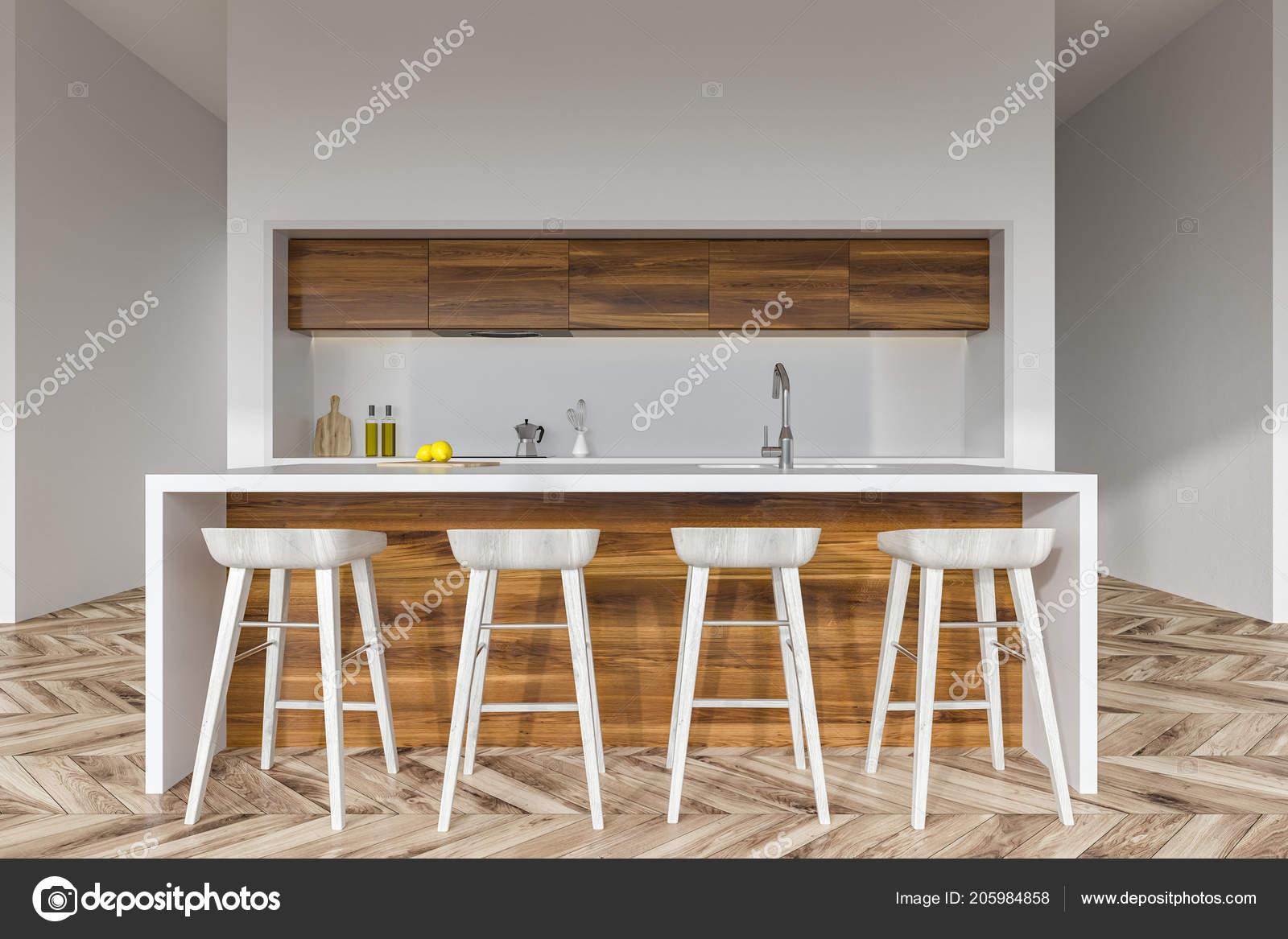 Cucina legno bianco bar con sgabelli bianchi piedi una cucina u2014 foto