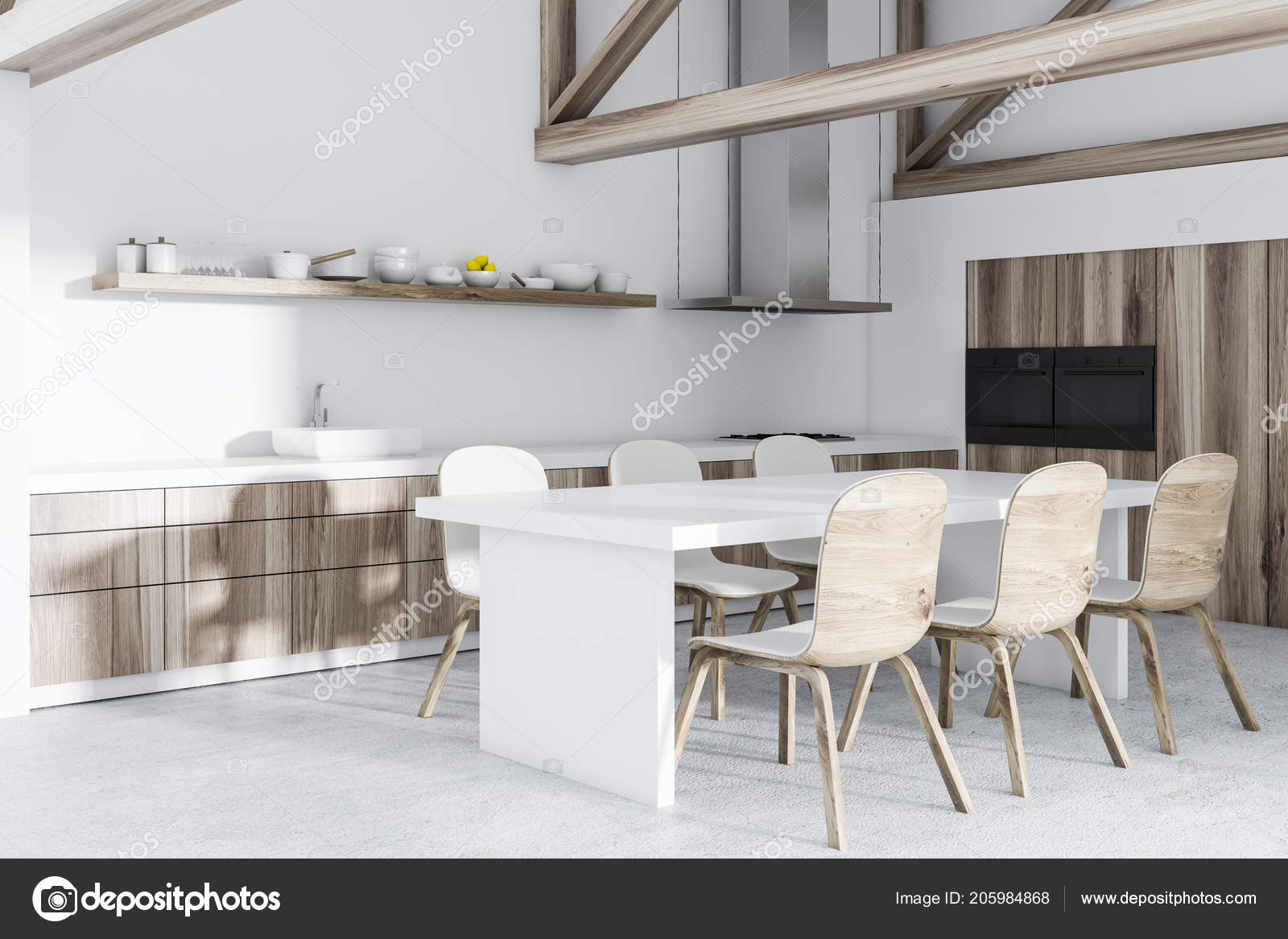 Ecke Der Innenansicht Dachgeschoss Kuche Mit Weissen Wanden Und