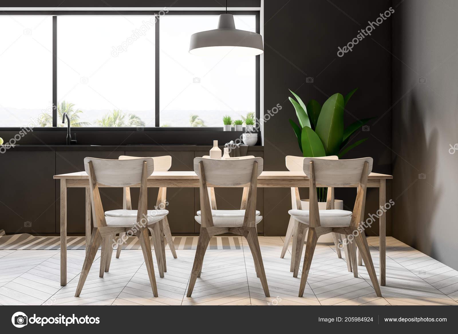 Salle Manger Moderne Interieur Cuisine Avec Des Murs Gris Une