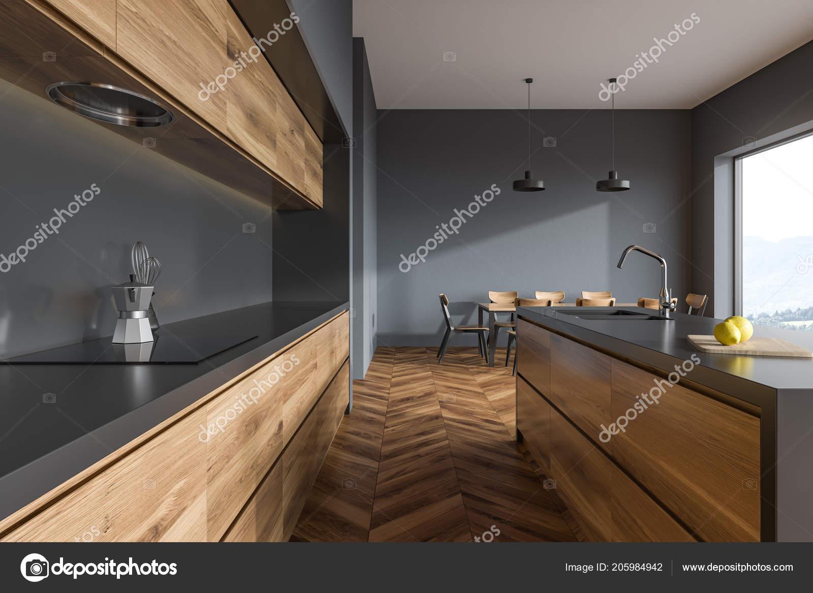 Holzboden Küche Interieur Mit Holz Und Grau Arbeitsplatten ...