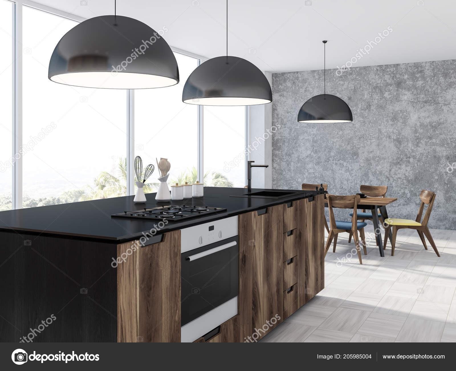 Interiore della cucina panoramica con pavimento legno bianco