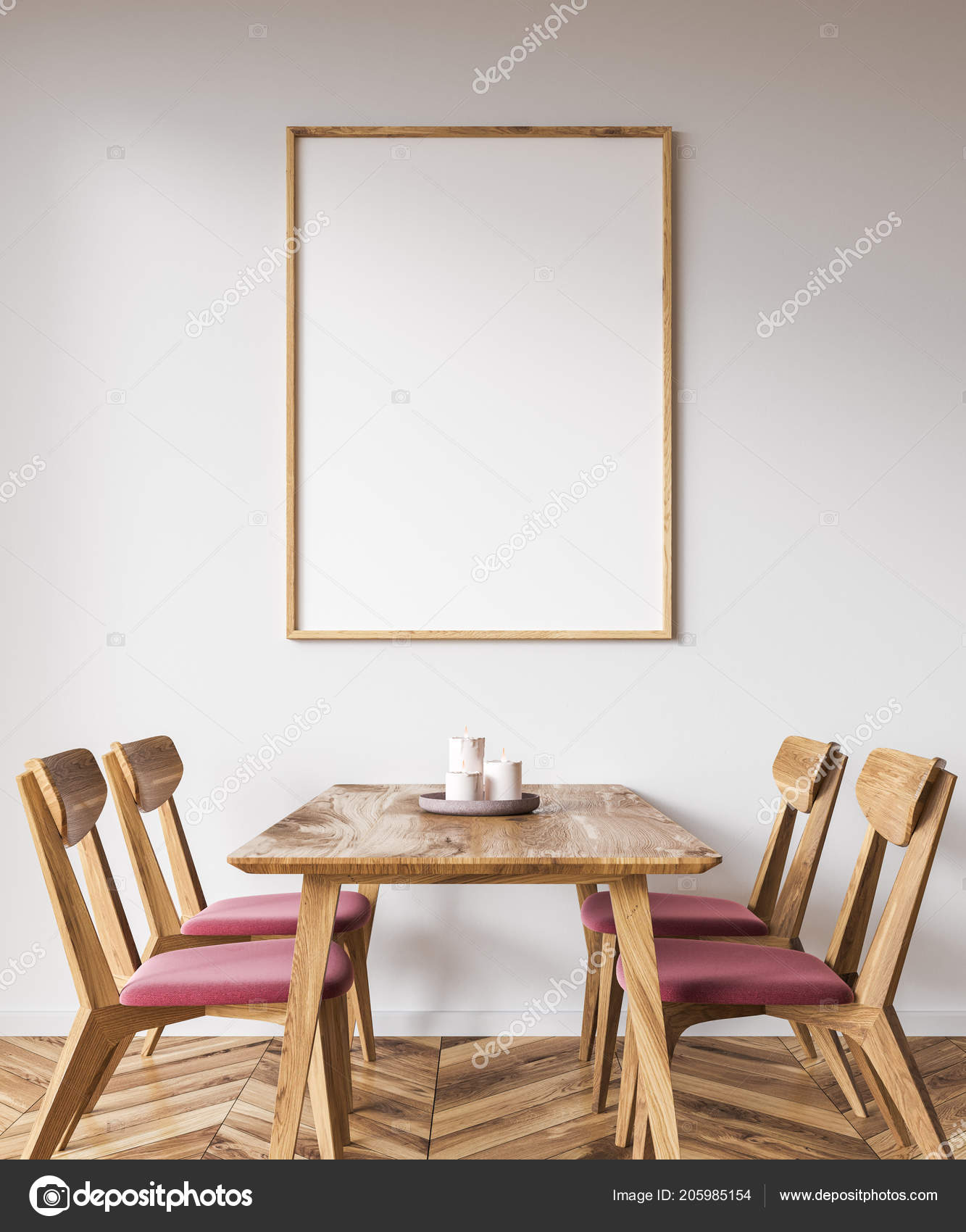 White Wall Dining Room Interior Wooden Table Pink Wooden Chairs U2014 Stock  Photo