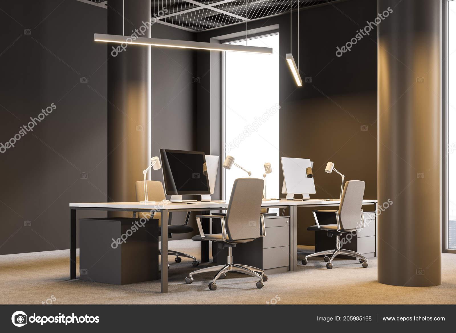Scrivania Angolo Ufficio : Angolo ufficio azienda consulenza moderno con pareti marroni
