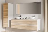 Oldalnézetből a egy fehér falat fürdőszoba, egy fából készült padló fából készült polcon álló két fürdőszoba mosogató. Egy szekrény a sarokban. 3D rendering ál up