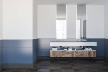 Double bathroom sink standing on a white shelf in a white and blue wall room with long vertical mirrors and shelves. Front view 3d rendering