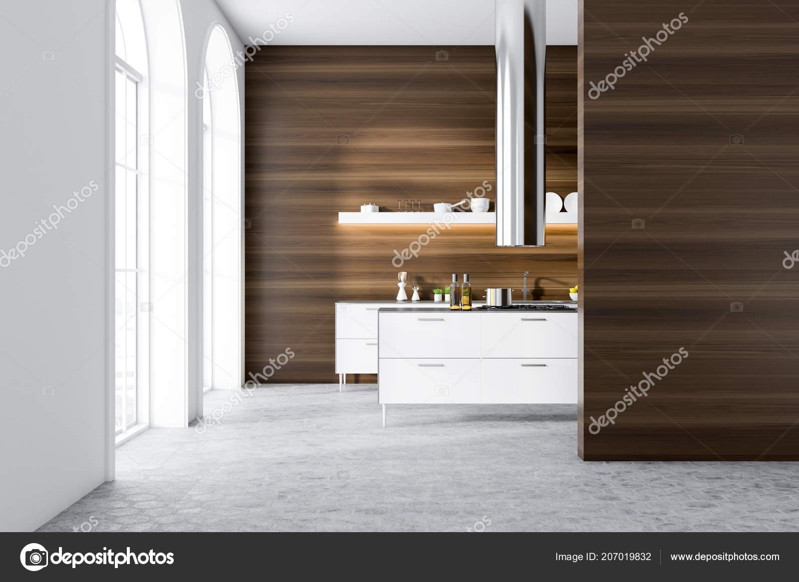 Fußboden Küche Modern ~ Moderne küche interieur mit dunklen holzwänden ein grauer fußboden