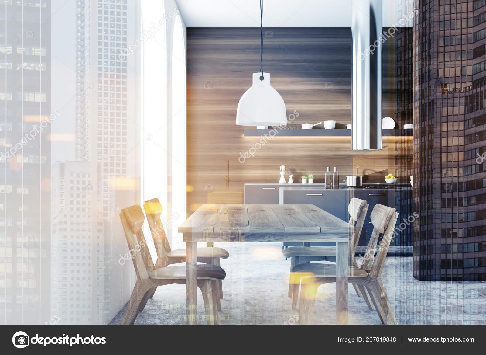 Küche Grauer Fußboden ~ Moderne küche interieur mit dunklen holzwänden ein grauer fußboden