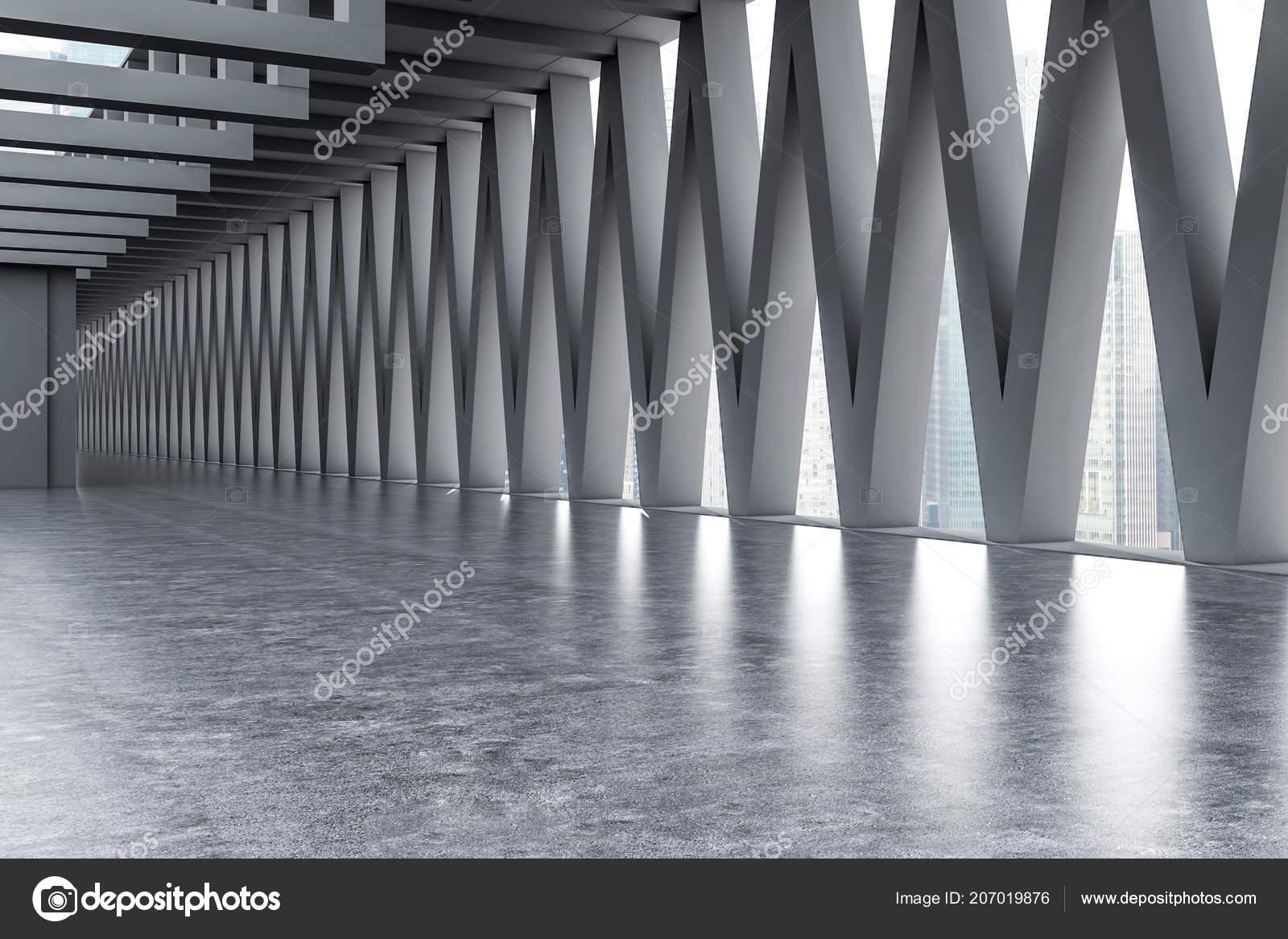 int�rieur vide vaste hall entr�e avec des murs gris les