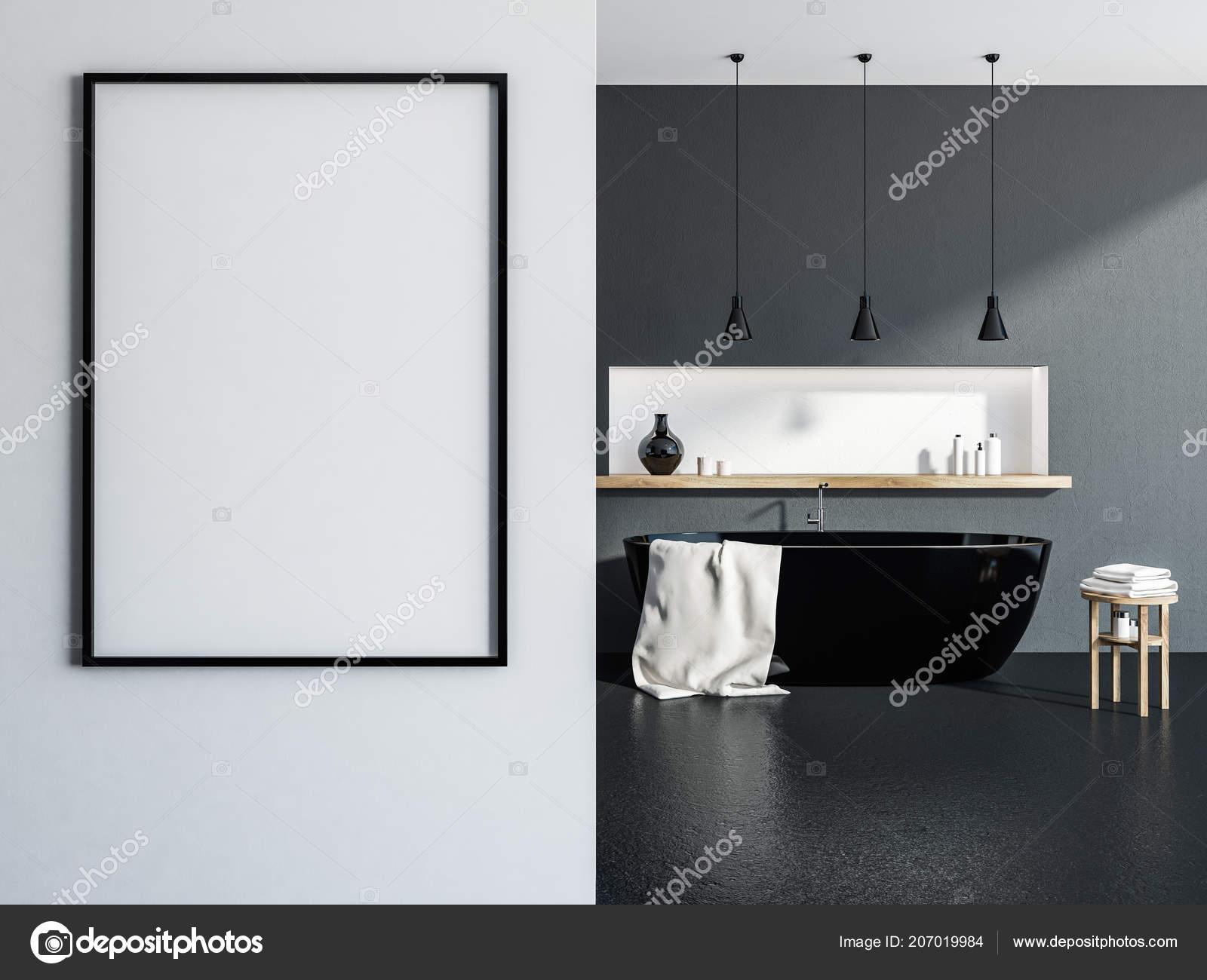 Stilvolles Badezimmer Interieur Mit Grauen Wänden Schwarzer Boden ...