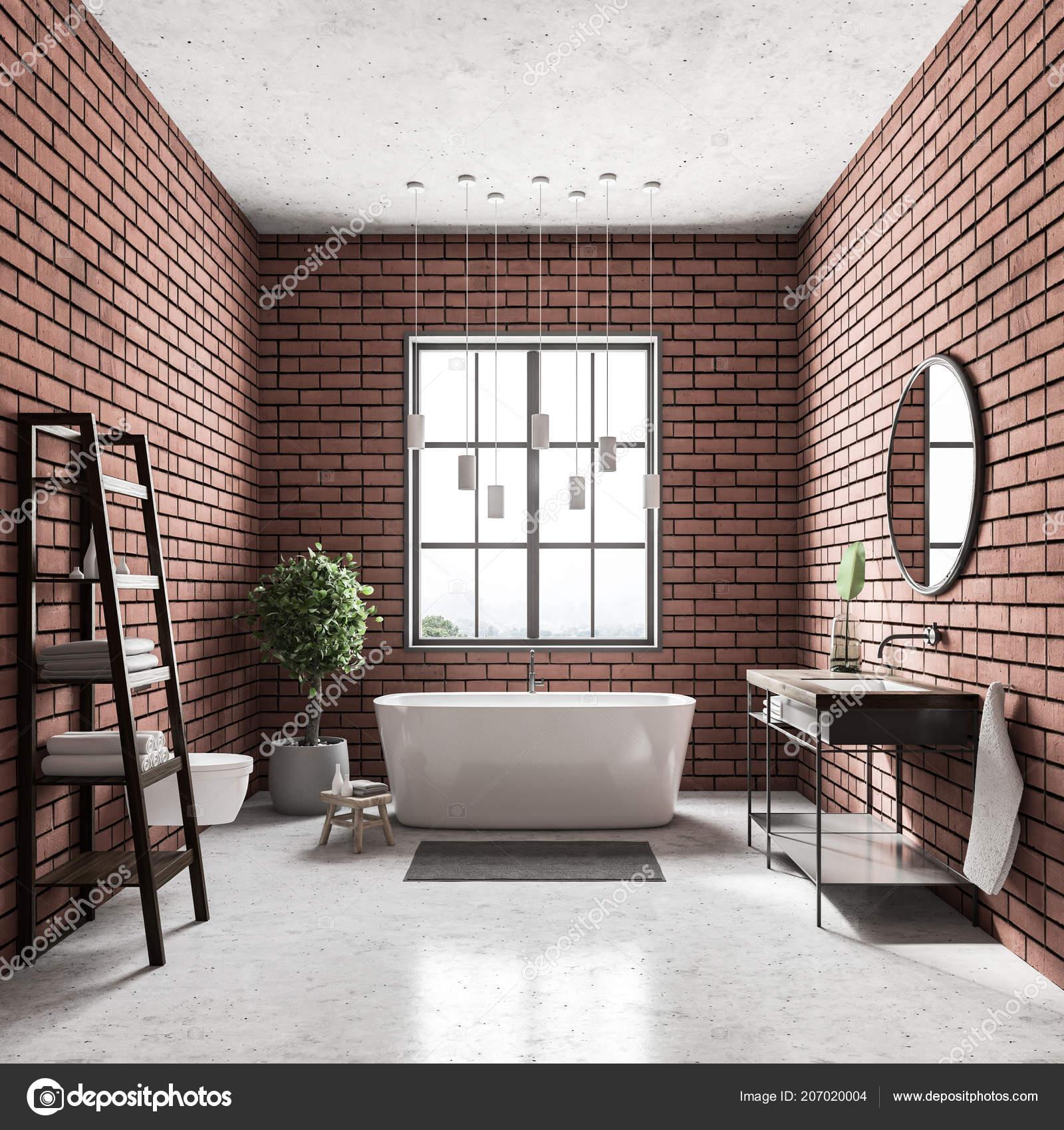 Interno Del Bagno Moderno Con Pareti Mattoni Pavimento Bianco Vasca