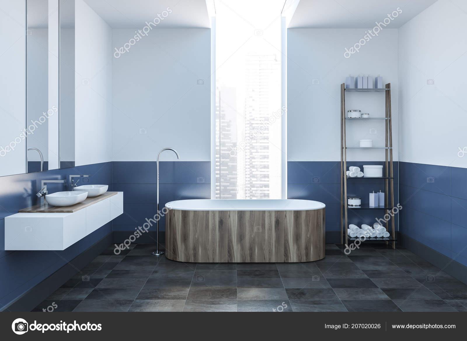 Nowoczesne łazienki Wnętrze Białe Niebieskie ściany Kafelki