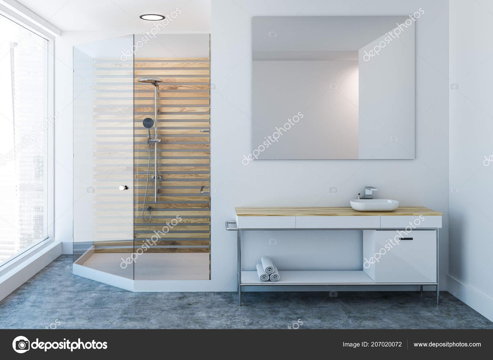 Interior Del Cuarto Baño Lujo Con Una Ducha Madera Mueble — Fotos de ...
