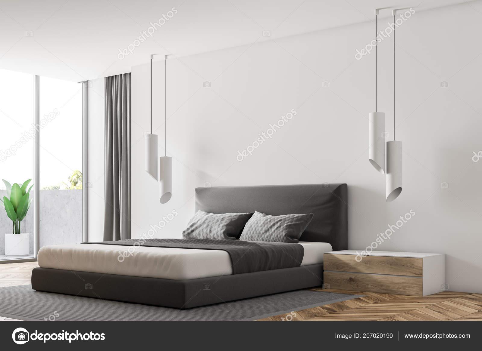 Narożnik Sypialnia Luksusowe Białe ściany Drewniane Podłogi