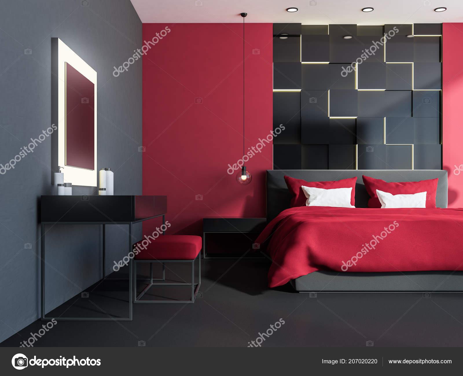 Intérieur Élégant Chambre Avec Murs Rouges Sol Gris Fenêtres ...