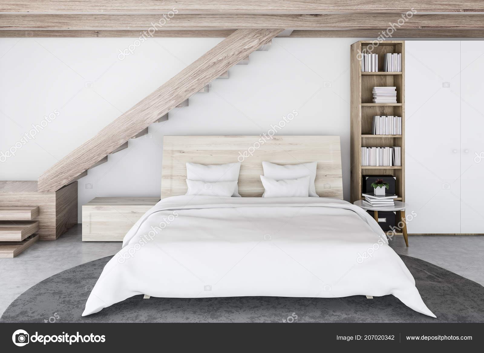 Intérieur Chambre Coucher Style Scandinave Avec Murs Blancs Plancher ...