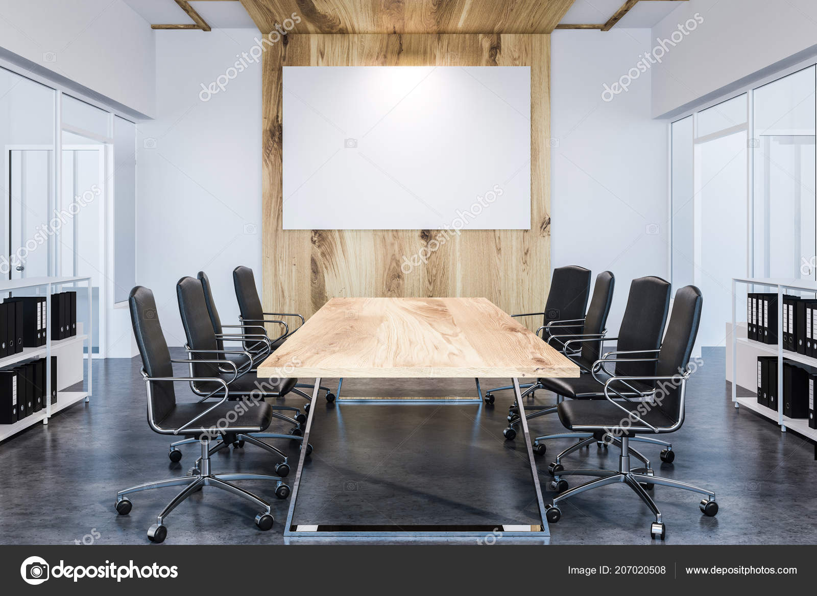 Picture of: Conference Room Interior White Walls Long Wooden Table Black Chairs Stock Photo C Denisismagilov 207020508