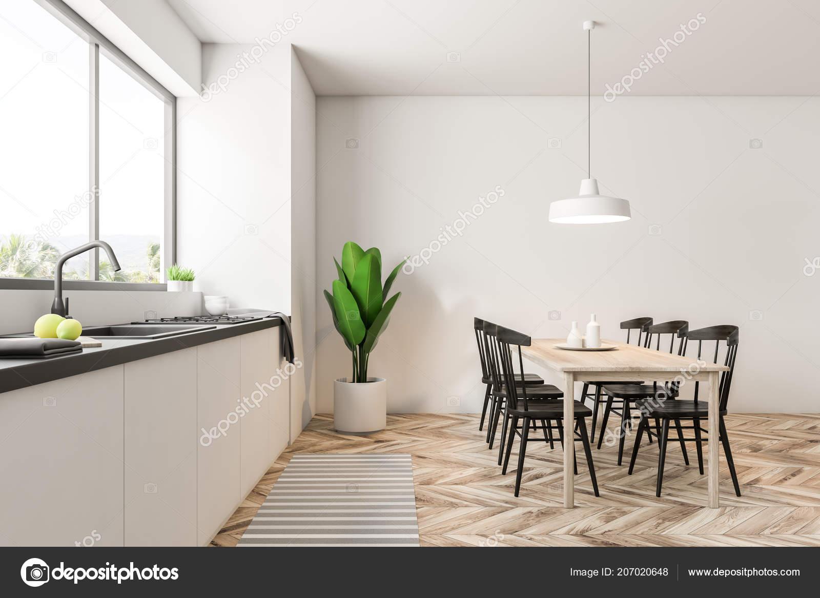 Moderna Sala Pranzo Cucina Interni Con Pareti Bianche Una Grande ...