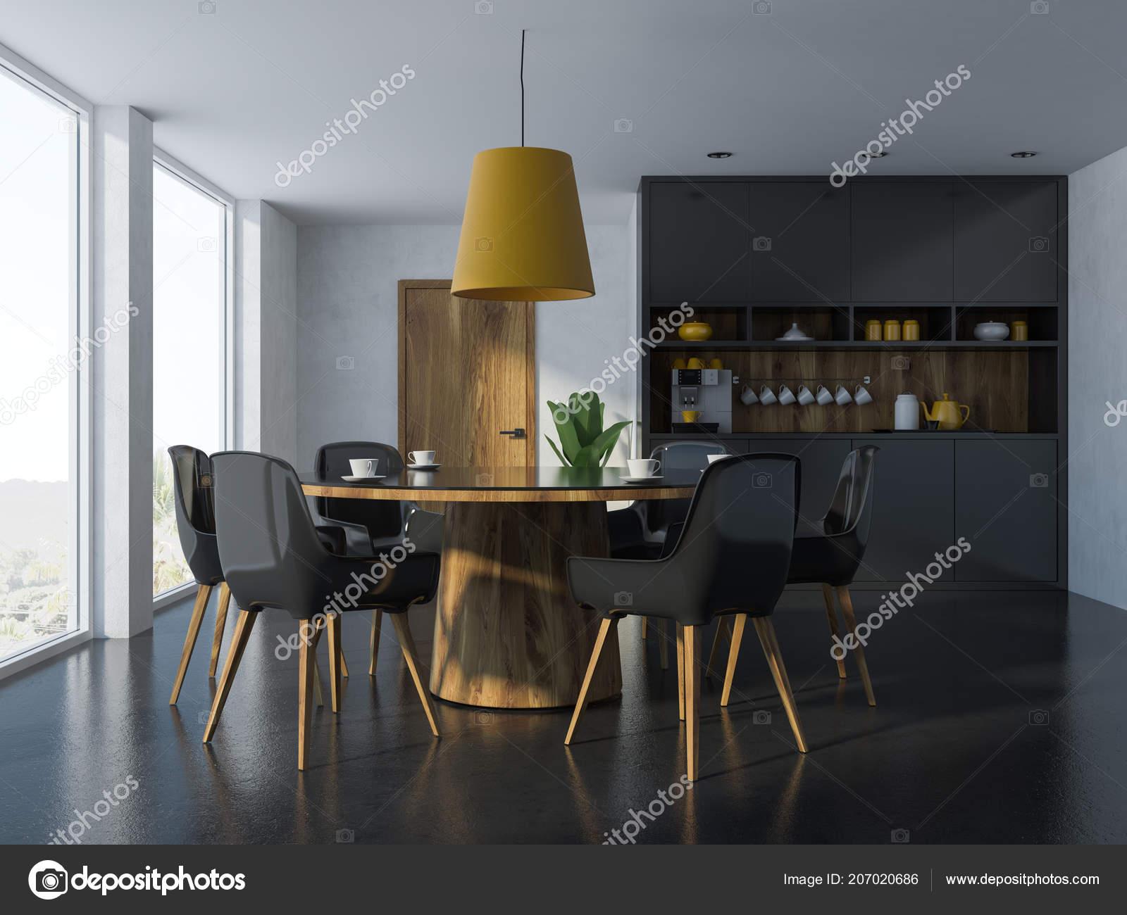 Tavolo Nero Sedie Bianche.Accogliente Sala Pranzo Moderna Interni Con Pareti Bianche Pavimento