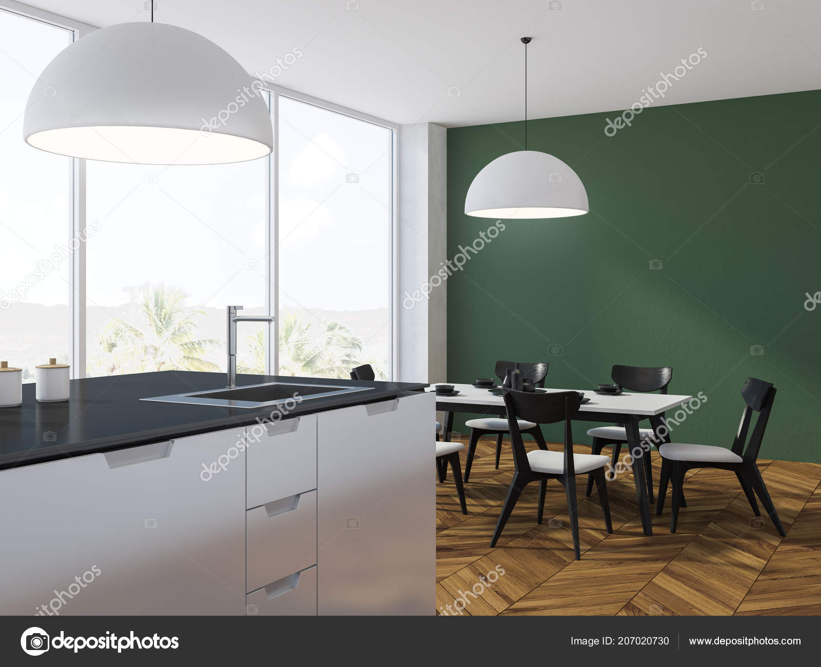 Panoramic Green Kitchen Wooden Floor Table Chairs White Black Counters Stock Photo Image By C Denisismagilov 207020730