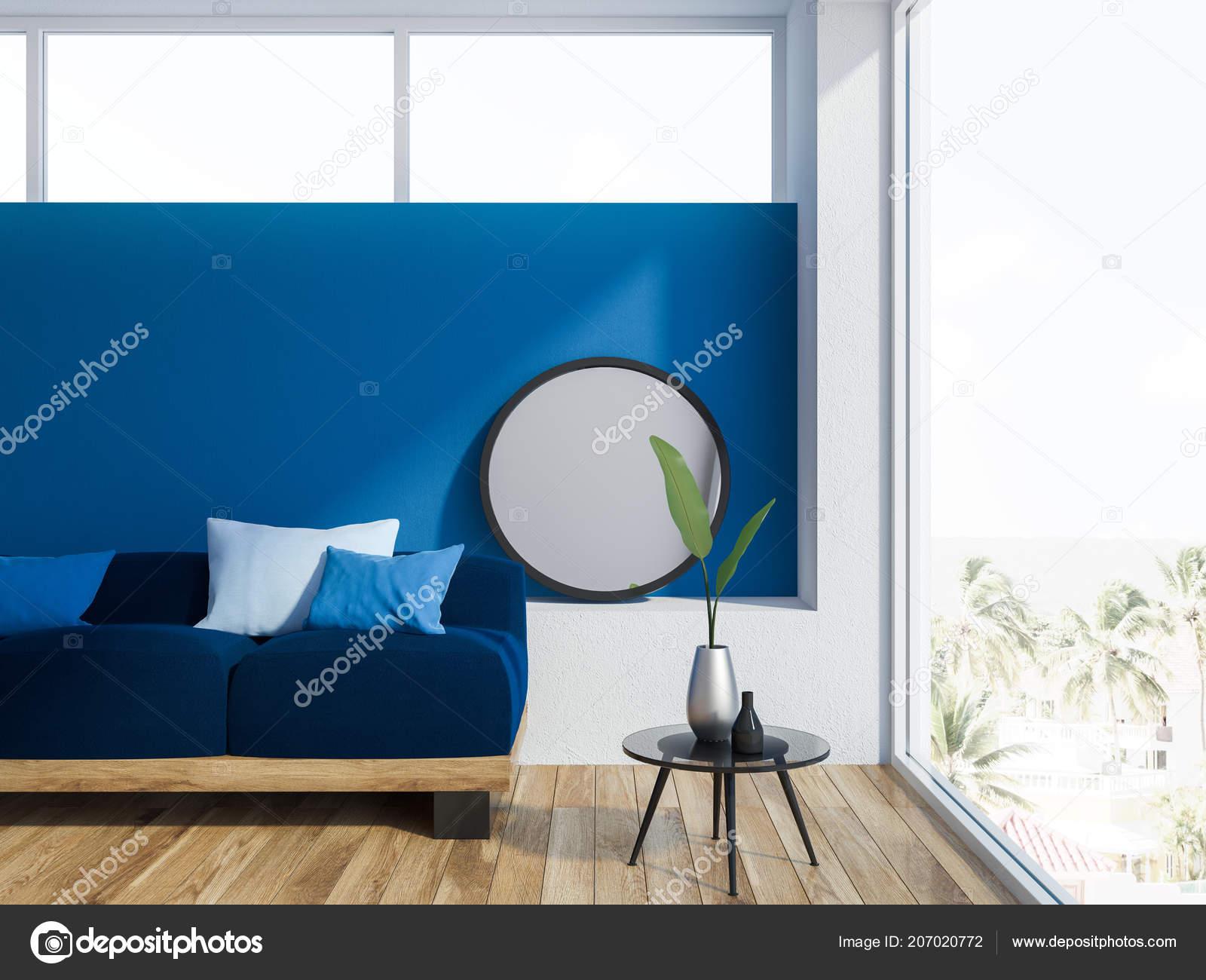 Fabulous Blue Living Room Interior Wooden Floor Loft Window Long Evergreenethics Interior Chair Design Evergreenethicsorg