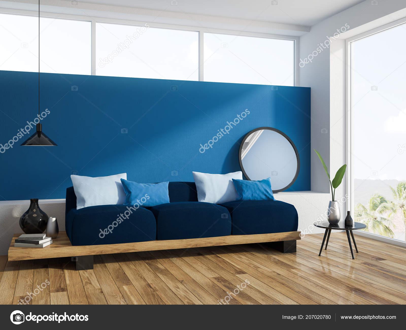 Fantastic Blue Living Room Corner Wooden Floor Loft Window Long Evergreenethics Interior Chair Design Evergreenethicsorg