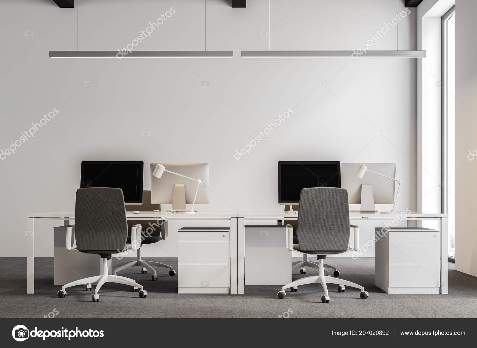 Close up of a modern international company office with white walls, and  computer desks standing in rows. Industrial style. 50d rendering mock up