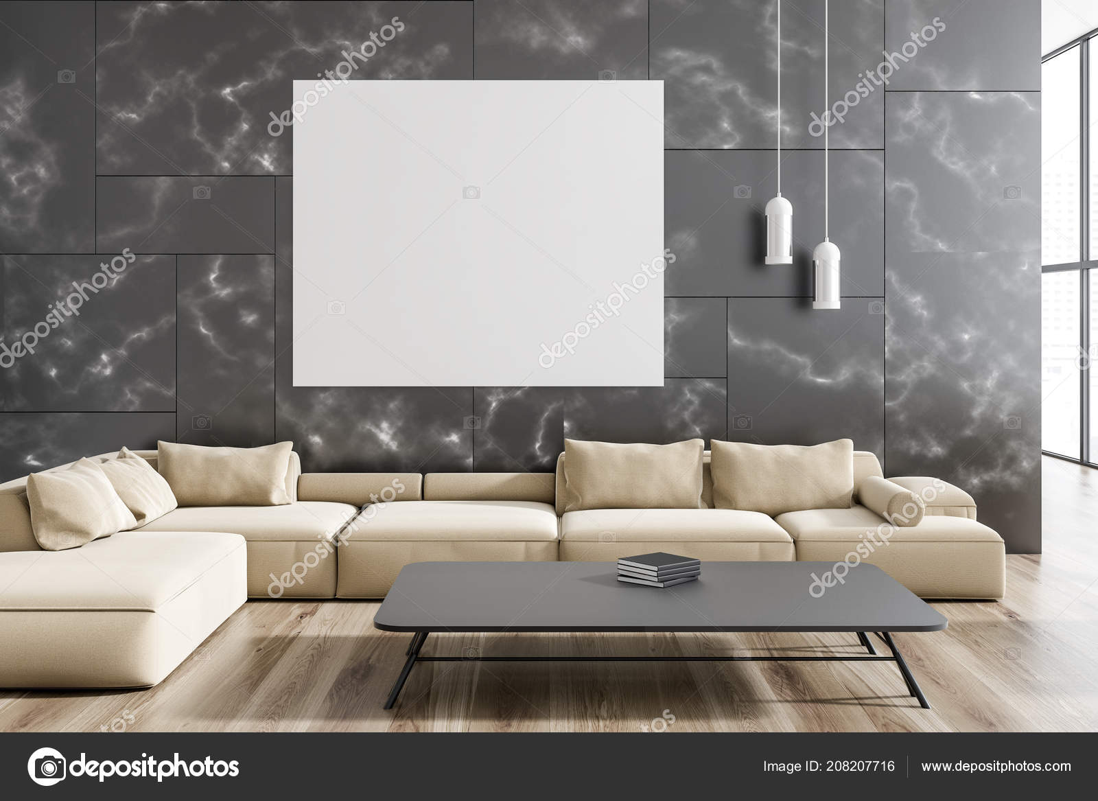 Modern Living Room Interior Black Marble Walls Wooden Floor Beige Stock Photo C Denisismagilov 208207716