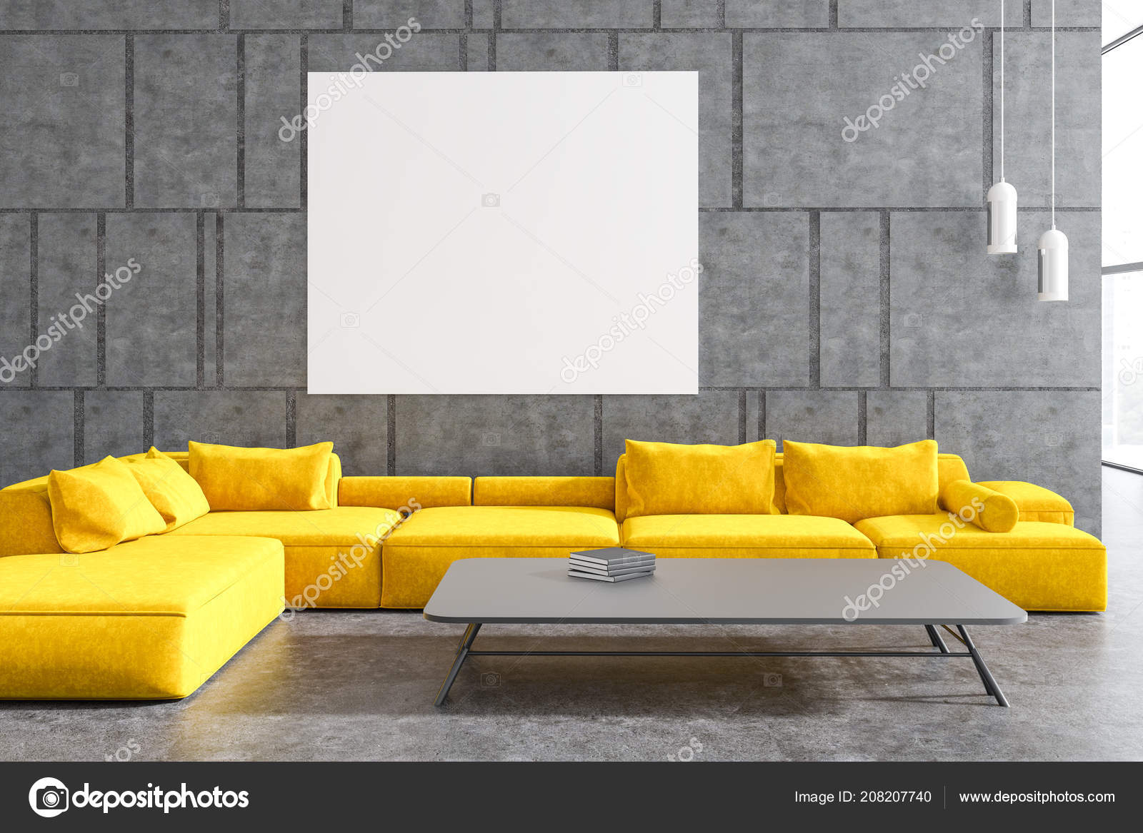 Modern living room interior with gray walls a conccrete floor and a yellow sofa a horizontal poster and a coffee table 3d rendering mock up photo by