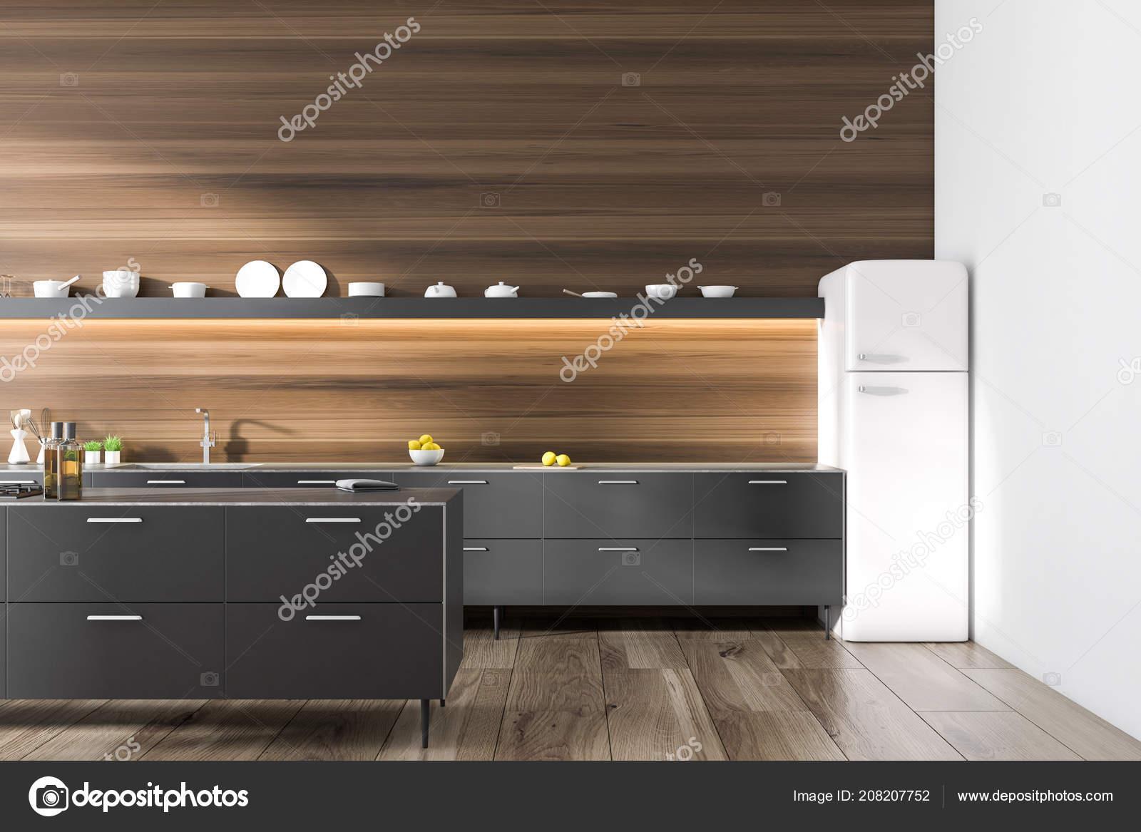 Moderne Kuche Interieur Mit Dunklen Holzwanden Und Boden Schwarze