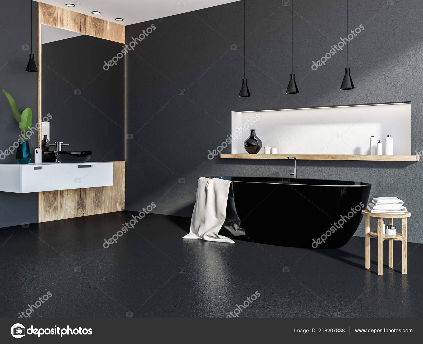 Coin Salle Bains Avec Des Murs Gris Bois Sol Noir — Photographie ...