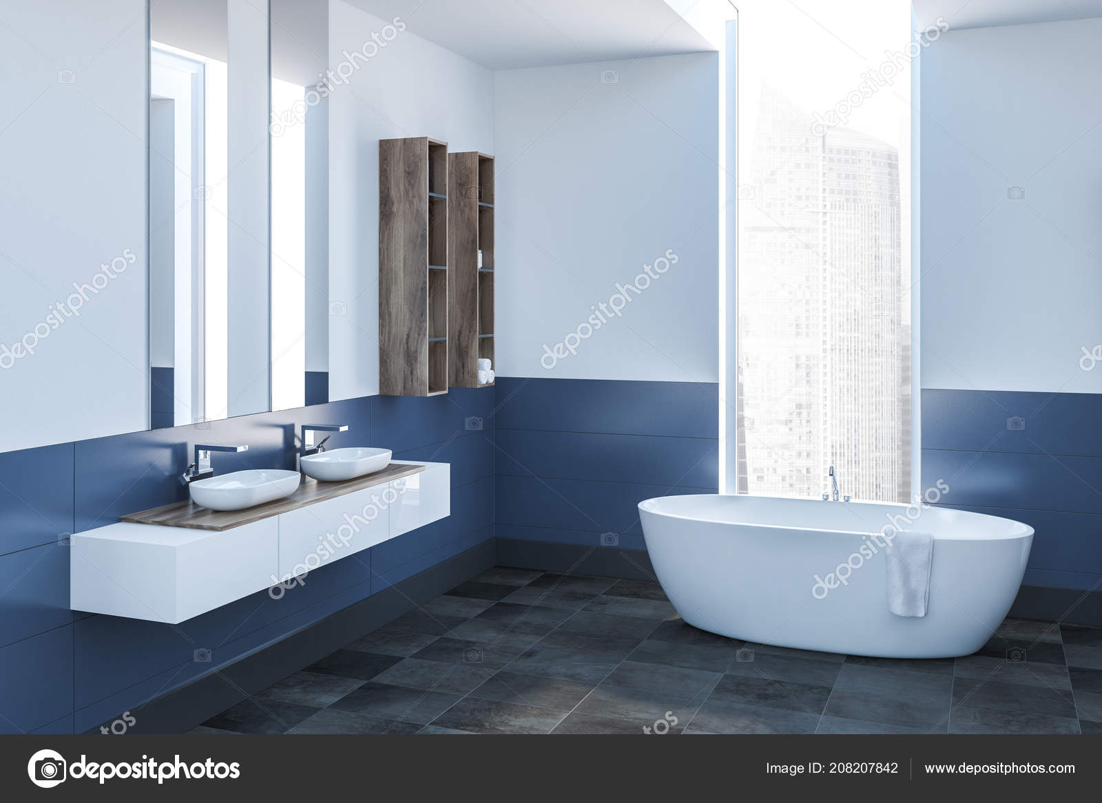 Modern Bathroom Corner White Blue Walls Tiled Floor White Bathtub U2014 Stock  Photo
