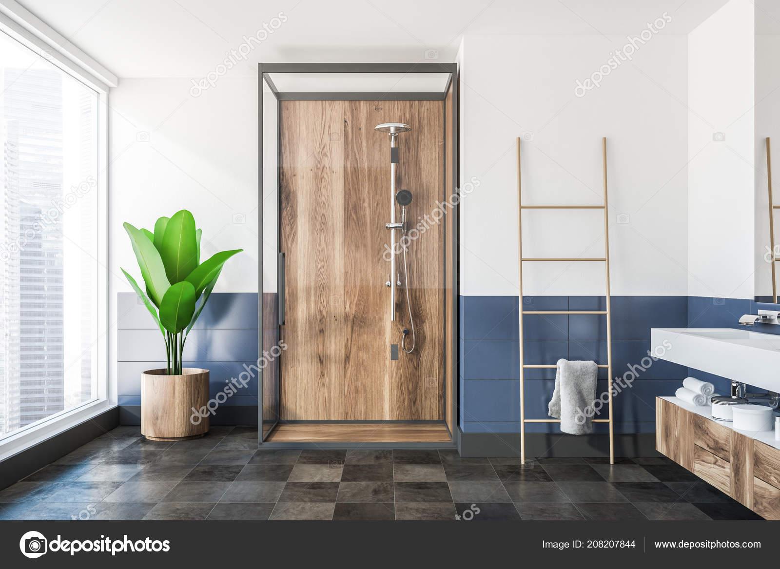 Drewniane Prysznic Stały Szklane Drzwi łazience Białe