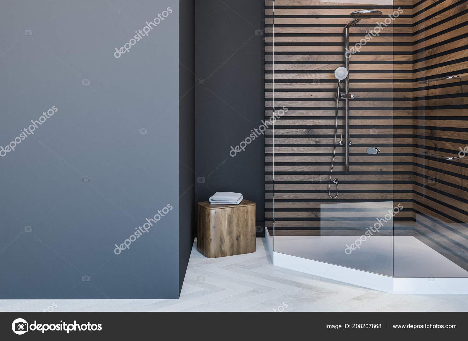 Skandinavischen Stil Badezimmer Interieur Mit Grauen Wänden Einen ...