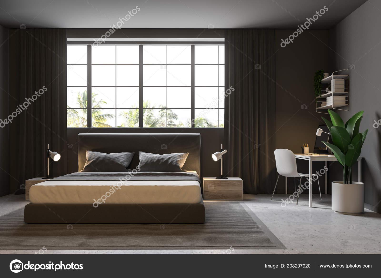 Camere Da Letto Pareti Grigie : Interno camera letto lusso con pareti grigie pavimento cemento con