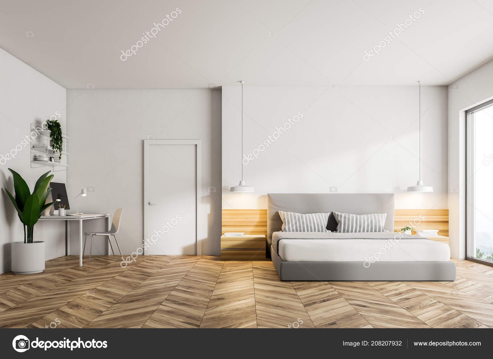 Illustrazione: camere da letto bianche con parquet. Interno ...
