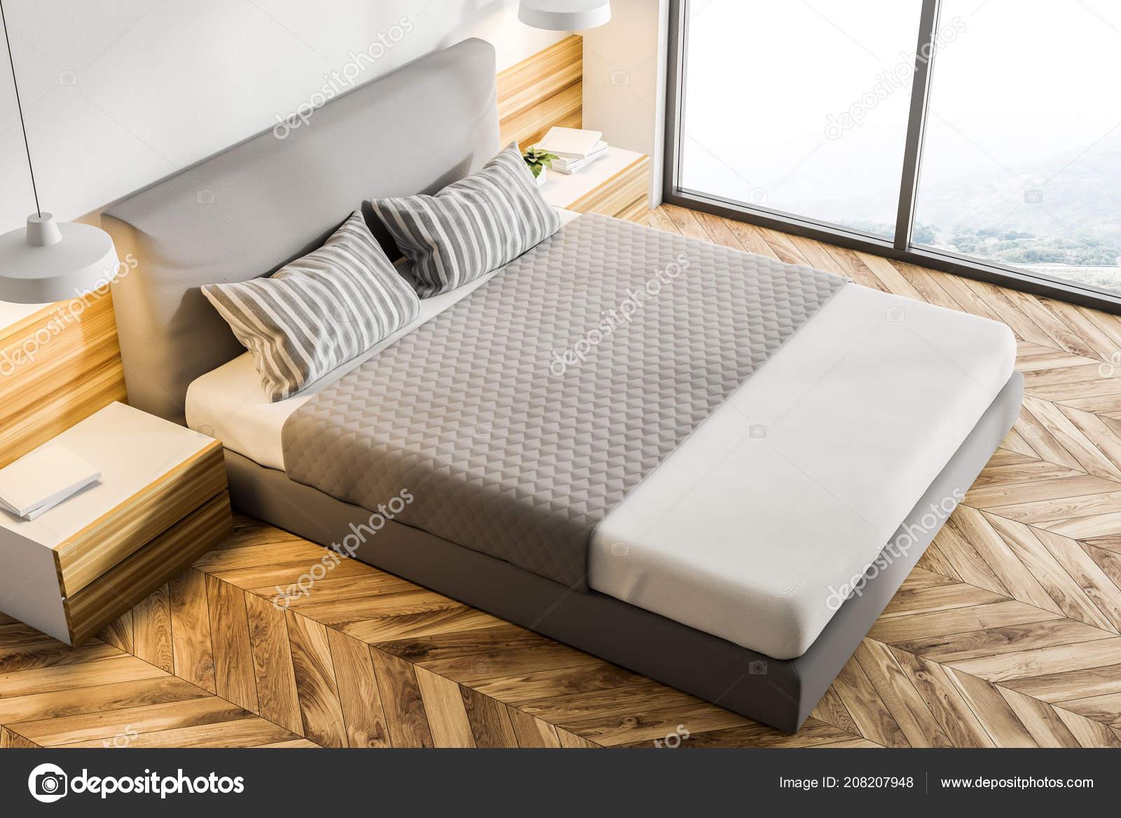 Fußboden Schlafzimmer Lampen ~ Draufsicht auf eine moderne schlafzimmer mit weißen wänden einen