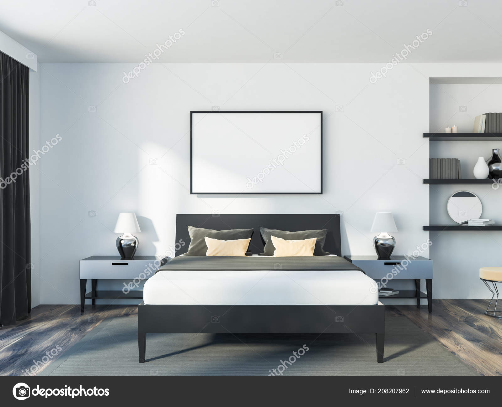 Interior Modern Bedroom White Walls Wooden Floor Double Bed