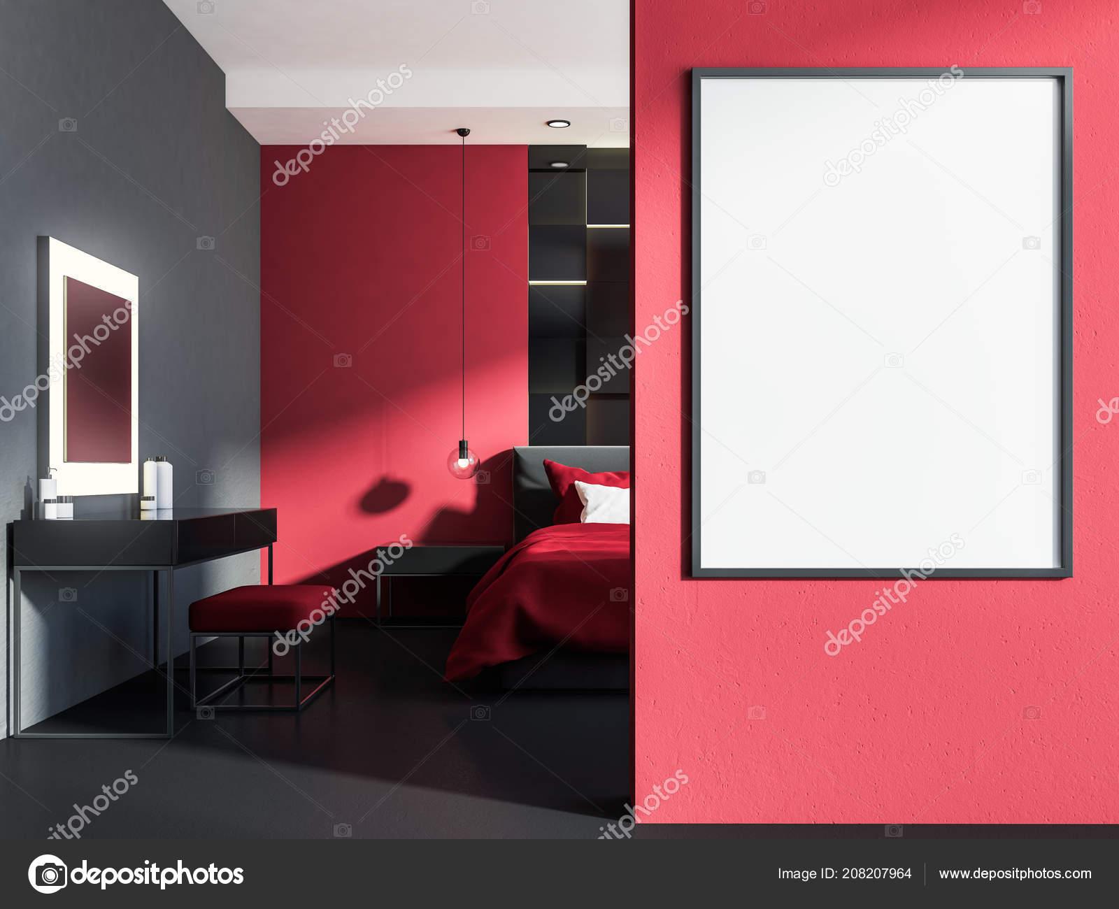 Pareti Grigie E Rosse : Interiore elegante camera letto con pareti rosse pavimento