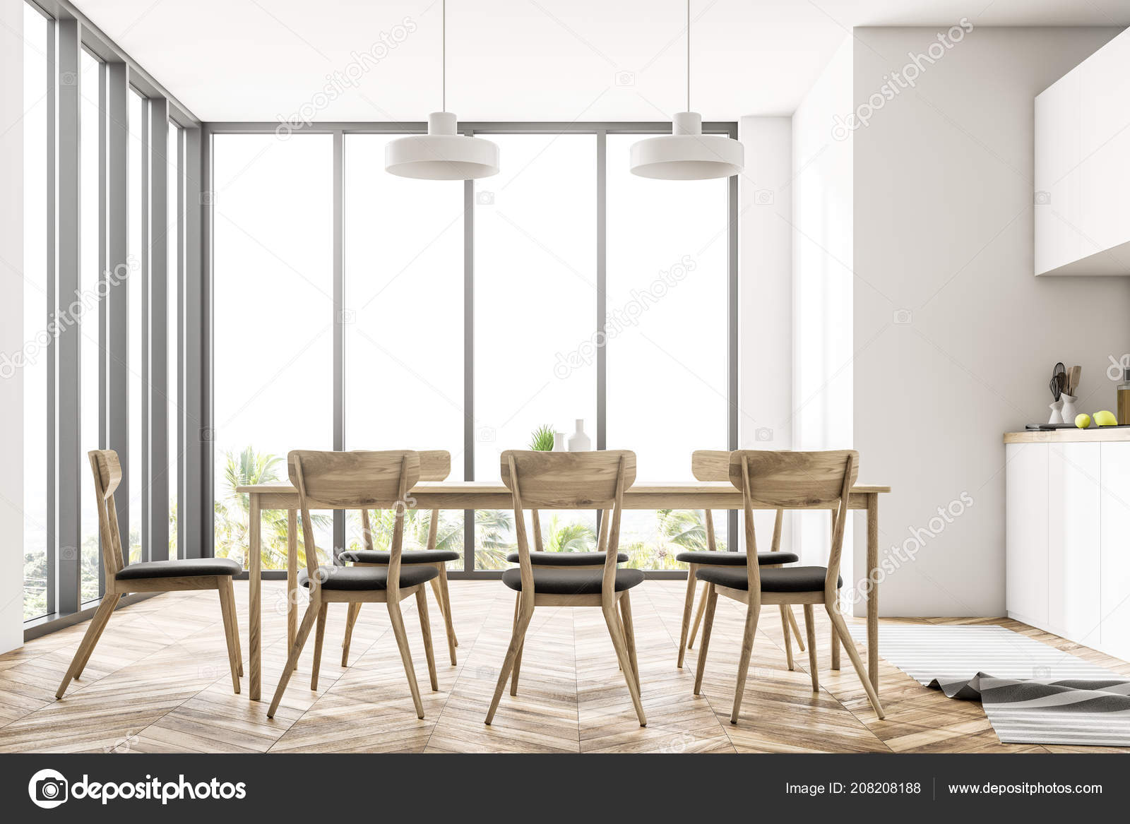 Dining Room And Kitchen Interior With White Walls, A Wooden Floor, A Long  Table With Chairs And White Countertops. Panoramic Windows.