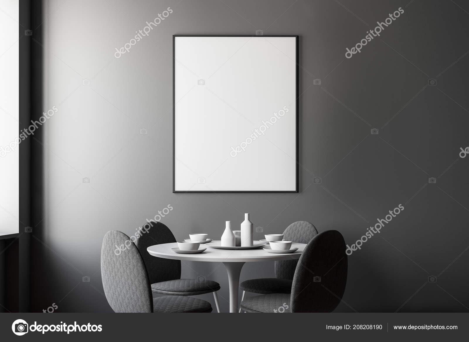 Intérieur Moderne Salle Manger Avec Murs Gris Une Table ...