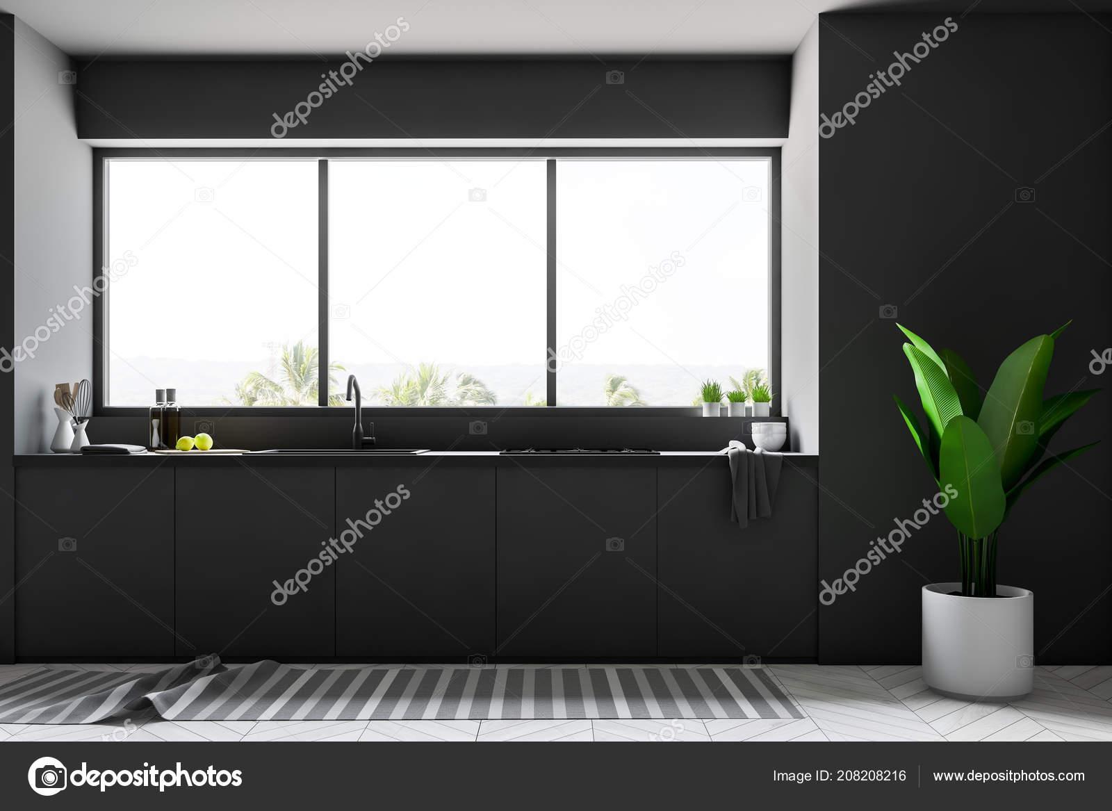 Piani Cucina Nera Sotto Una Finestra Con Una Vista Tropico ...