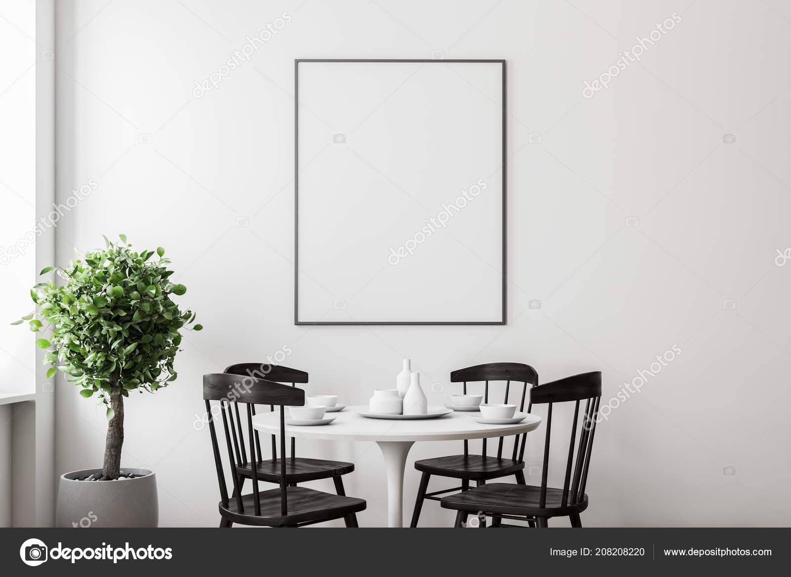 Salle Manger Moderne Intérieur Aux Murs Blancs Une Table ...