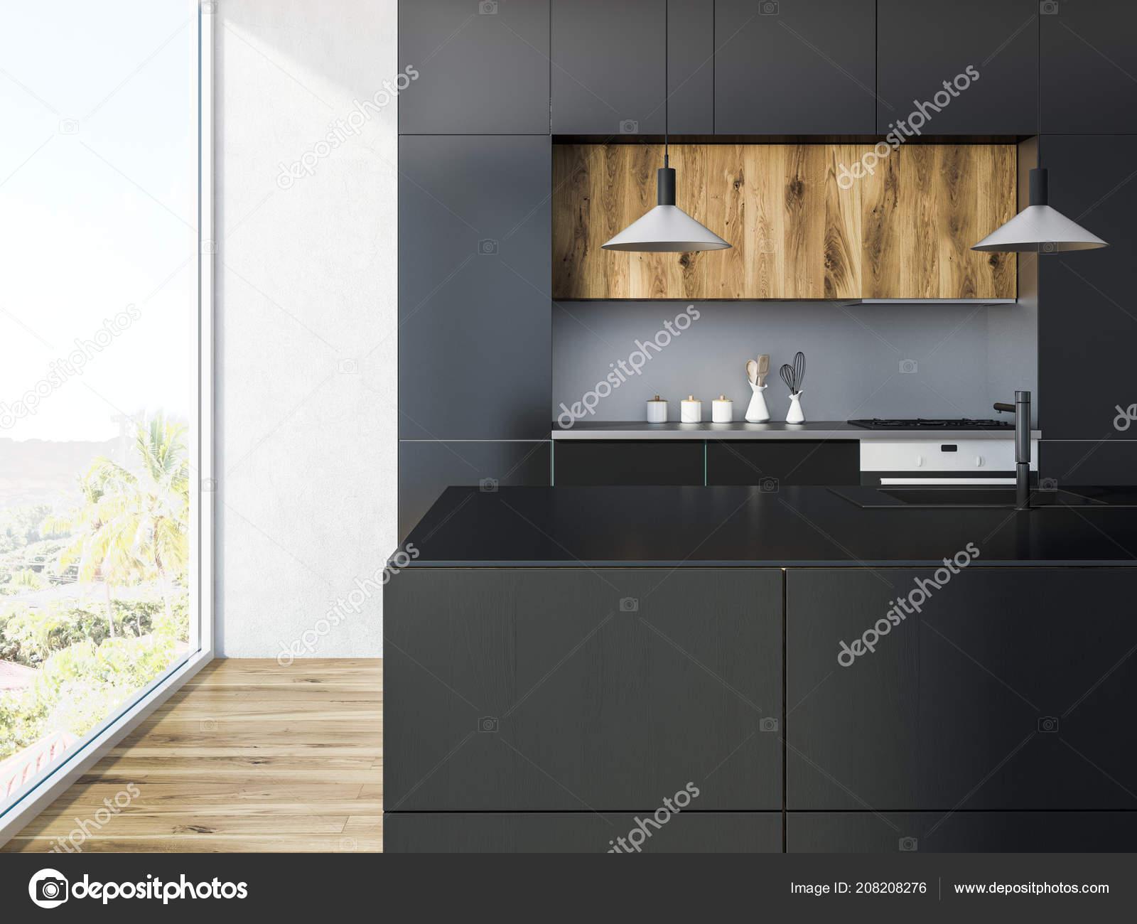 Loft Küche Interieur Mit Weißen Wänden Holzböden Und Schwarze