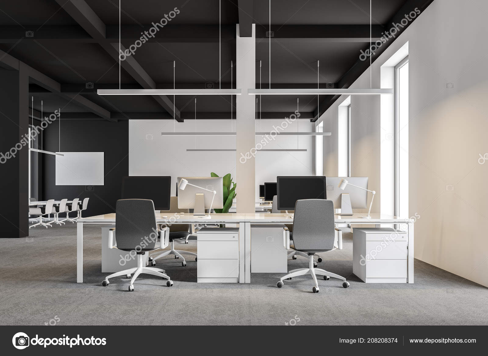 Bureau société internationale moderne avec des murs blancs gris