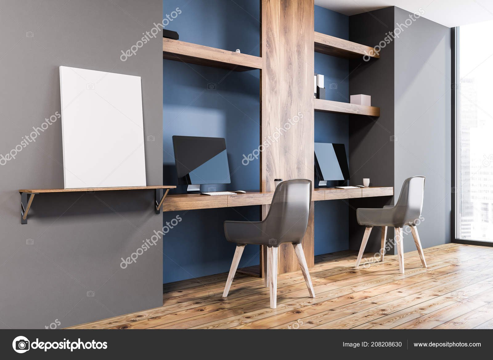 Intérieur Élégant bureau maison avec des murs bleus bois foncé