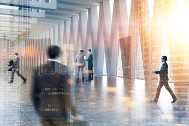 Business people communicating in a lobby with gray walls, and triangular pattern windows with a cityscape. City in the foreground 3d rendering mock up toned image double exposure blurred