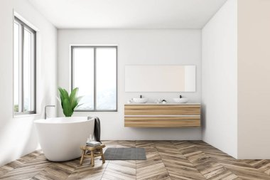 Side view of Scandinavian bathroom interior with white walls, a wooden floor, large windows and a white bathtub standing next to a double sink. 3d rendering mock up