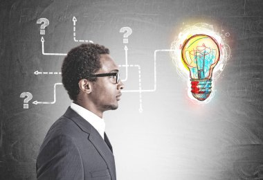 Side view of a young handsome African American businessman wearing glasses and a gray suit. A bright colorful light bulb with tangled arrows drawn on a blackboard