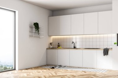 Luxury kitchen interior with tiled walls, a wooden floor, and a row of white countertops. Side view 3d rendering